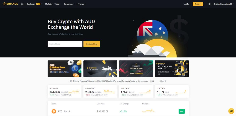 Binance Australia website